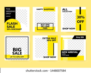 Set of social media post template for special offer. Digital banner, Poster, digital layout. Vector illustration. yellow color