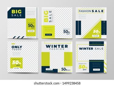Set of social media post template for special offer. Digital banner, Poster, digital layout