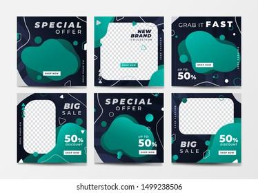 Set of social media post template for special offer. Digital banner, Poster, digital layout. Vector illustration. green color