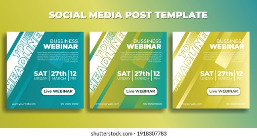 Set of Social media post template. Business Webinar banner with green yellow design. good template for online advertising design.