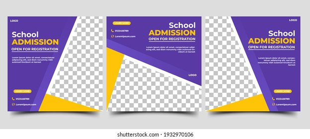 Set of Social media post template for School Admission. Modern banner with purple and yellow background color shape. Vector design with photo collage. Suitable for social media, flyers, and web ads.