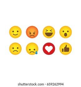 Set of social media reactions. Cute emoticons.