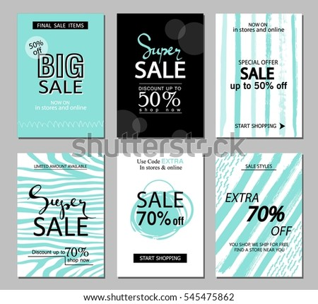 set social media sale website mobile stock vector royalty free