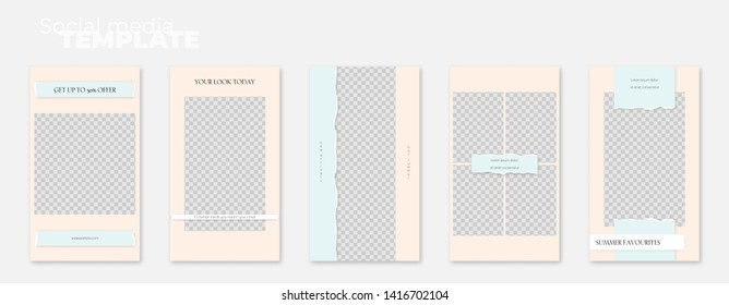 A set of social media stories layouts with ripped paper edge. Minimalistic vector editable illustration on transparent background. Insert photos and text, create your unique content.