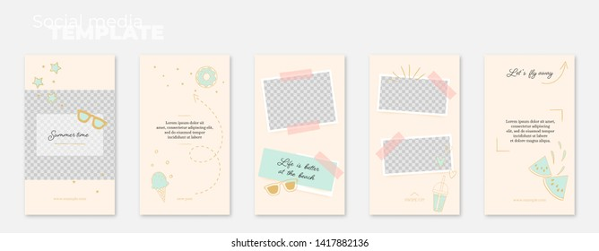 A set of social media stories layouts with hand drawn doodles: summer, sun, beach, ice cream, sea. Vector editable illustration. Insert photos and text, create your unique content