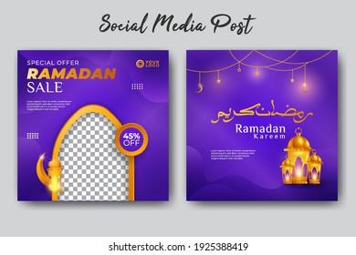 Set of social media template elegant luxury ramadan kareem with arabic, mosque, cescent moon and stars