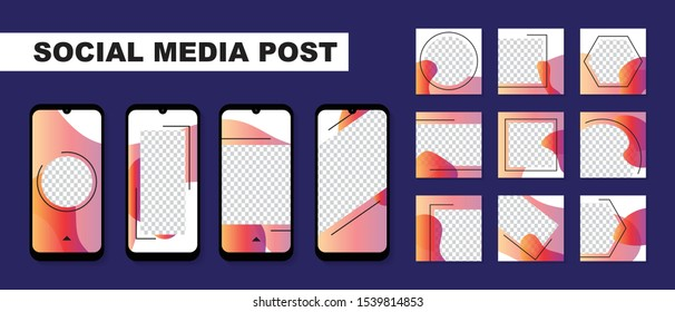 Set of Social media template for Instagram stories and posts.Editable square for digital marketing,discount,special offer,advertiser,web banner and mobile apps