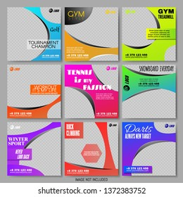 Set Social Media Templates in Casual Sporty and Dynamic Style. Colorful Frames and Layouts for Business Promotion and Personal Use. Snowboard, Tennis, Gym Flyers. Vector Illustration. Square Banner