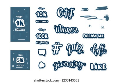 Set of  social media templates and elements. Banners  and decoration for internet networks.  1K, 5K, 10K,  100K followers thank you congratulation posts. Vector illustration.