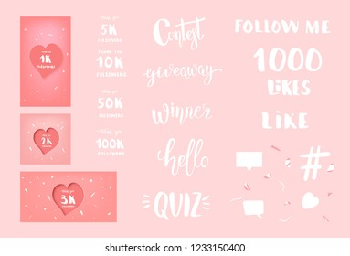 Set of  social media templates and elements. Banners, phrases  and decoration for internet networks.  1K, 2K, 3K, 5K, 10K, 50K, 100K followers thank you congratulation posts. Vector illustration.