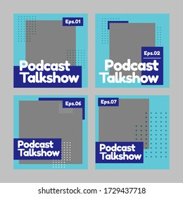 Set of social media templates podcasts