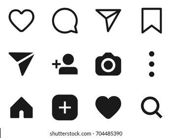 Set of social network icons. Photo app internet vector illustration. Line and solid monocolor icons on white background.
