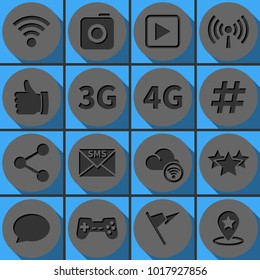 Set of social network vector icons. Round papercut pictogram with 3d effect.