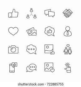 Set of Social Networks Related Vector Line Icons. Contains such Icons as Profile Page, Rating, Social Links and more. Editable Stroke. 32x32 Pixel Perfect.