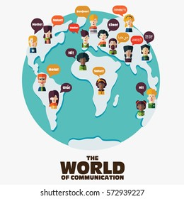 Set of social people on World map with speech bubbles in different languages. Male and female faces avatars. Communication, chat, assistance, interpretation and people connection vector concept