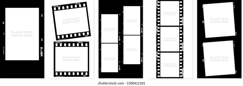 Set of Social stories filmstrips templates. Film frame background with space for your text or image. Trendy editable camera roll effect design. Lifestyle concept. Vector illustration