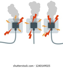 Set of sockets with cords. The electric circuit of the cable with the smoke, sparks and lightning. Fire safety in the house. Cartoon flat illustration