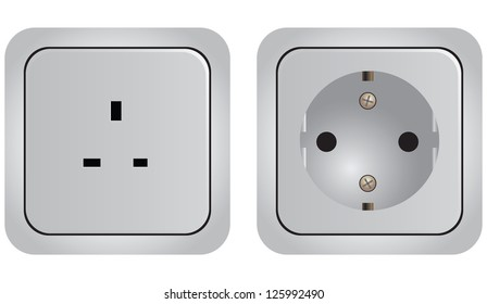 Set of of sockets with different modifications. Vector illustration.