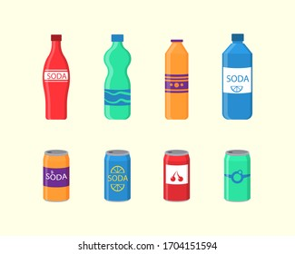 A set of soda drinks in plastic and aluminum packaging. Sparkling water with different flavors. Bottled drink, vitamin juice, sparkling or natural water in tanks, plastic bottles. Vector illustration.