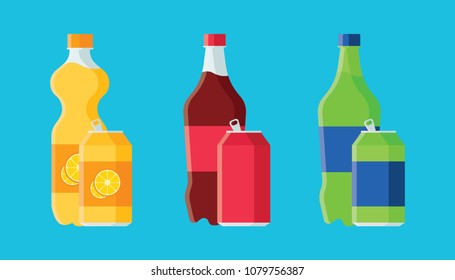 Set of soda in plastic bottles and aluminum cans in flat style with long shadow isolated on blue background. Collection of soda and juice vector illustration for web and mobile design.