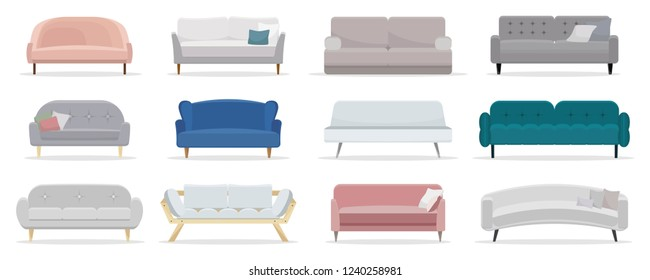 Set of sofa. Collection of sofa in flat cartoon style. Vector illustration
