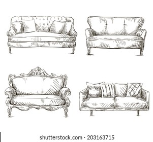 Charmant Set Of Sofas Drawings Sketch Style, Vector Illustration