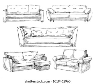 Set of sofas isolated on white background.Vector illustration in a sketch style.