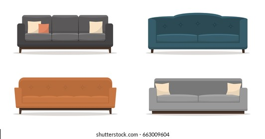 Set of sofas with pillows isolated on white background