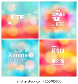 Set of soft blurry backgrounds with bokeh effect. Vector illustration.