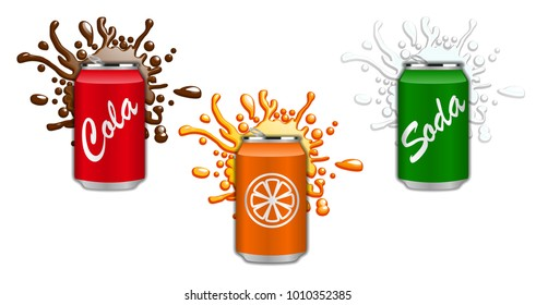 Set of soft drinks in aluminum cans. Splash soda. Vector, illustration isolated on white background.