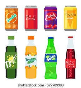 Set of soft drinks in plastic and aluminum packaging. Carbonated water with different flavors. Vector, illustration in flat style isolated on white background EPS10.