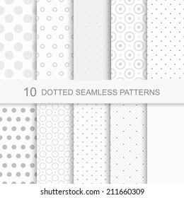 Set of soft seamless patterns with dots