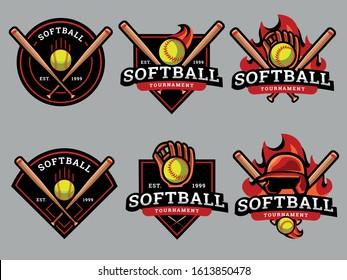 Set of softball Logo. Softball logo and badge.  Softball  vector illustration