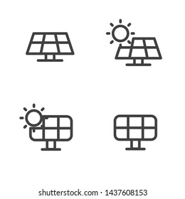 Set of solar panel icon with simple line design suitable for interface or graphic design.
