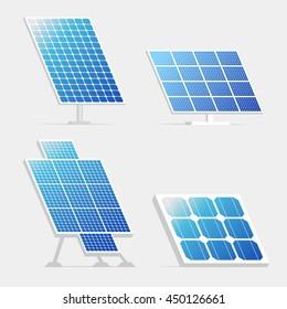 Set of solar panels. Vector illustration