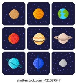 Set of Solar system planets: Mercury, Venus, Earth, Mars, Jupiter, Saturn, Uranus, Neptune, Pluto. Isolated space illustration icons in pixel art style.