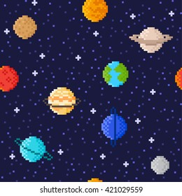 Set of Solar system planets: Mercury, Venus, Earth, Mars, Jupiter, Saturn, Uranus, Neptune, Pluto. Space illustration icons in pixel art style. Vector seamless pattern background.
