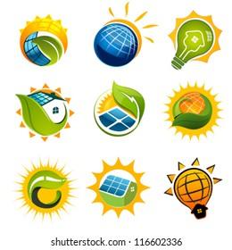 SET OF SOLAR Technology vector elements
