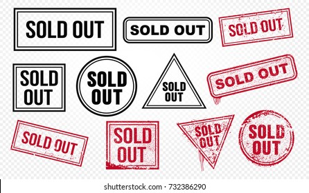 Set of sold out red end black grunge stamp, sale badge template. Vector illustration. Isolated on transparent background