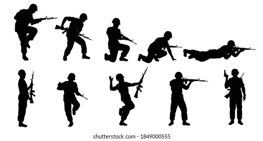 Set of soldier with rifle gun silhouette vector