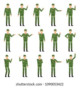 Set of soldiers in green camouflage uniform showing various hand gestures. Cheerful military man pointing, greeting, showing victory hand and other gestures. Flat design vector illustration