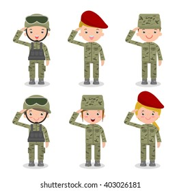 set of soldiers. men and women. flat cartoon character design isolated on white background. group US Army , soldiers Isolated vector illustration.