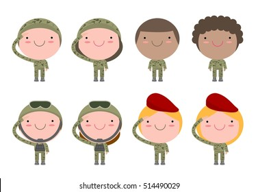 set of soldiers. men and women. flat cartoon character design isolated on white background. US Army, vector illustration.