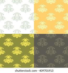 set solemn black ocher pattern seamless. vector illustration