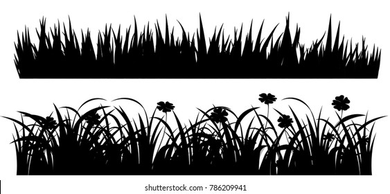 black grass images stock photos vectors shutterstock https www shutterstock com image vector set solid black grass isolated white 786209941