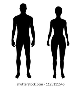 Set of solid black man and woman silhouettes - isolated vector illustration in EPS 8 format. Medical template of male and female fit and healthy body. Fashion mannequin vector shapes