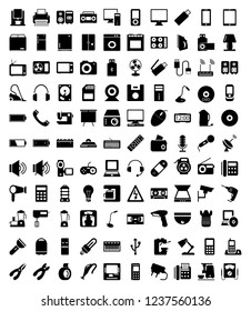 Set of solid electronic icons