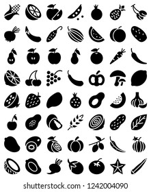Set of Solid fruits and vegetables icons