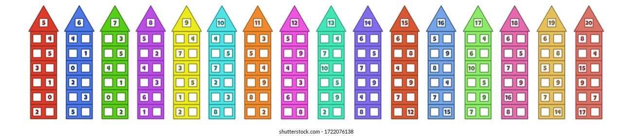 Set of solve the task. Mathematical puzzle game. Worksheet. Learning mathematics. Tasks for addition for preschool children.