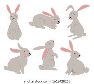 Set of some cute rabbits, easter vector hand draw illustration isolated on white background.